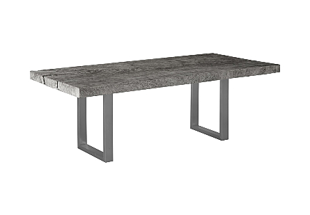 Origins Dining Table, Straight Edge Grey Stone, Brushed Stainless Steel Legs