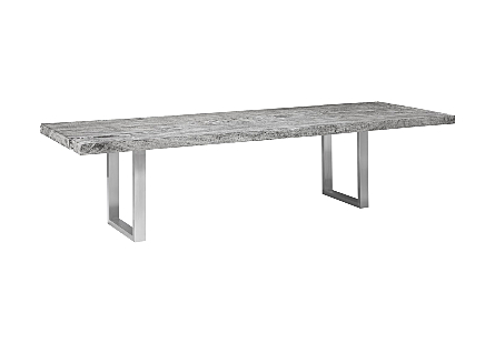 Origins Dining Table, Straight Edge Gray Stone, Brushed Stainless Steel Legs