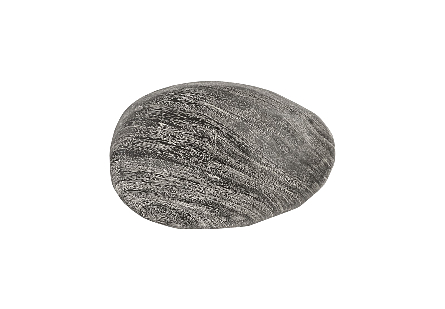 front view of the Phillips Collection River Stone Large Gray Wall Tile a rock-shaped wall sculpture made of wood in a textural gray stone finish