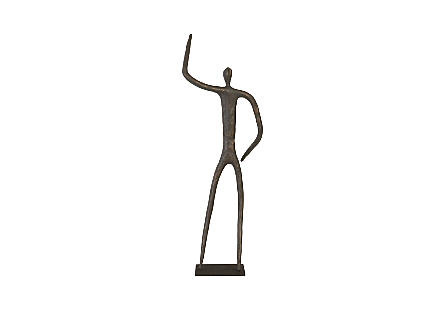 Abstract Figure on Metal Base Bronze Finish, Arm Up