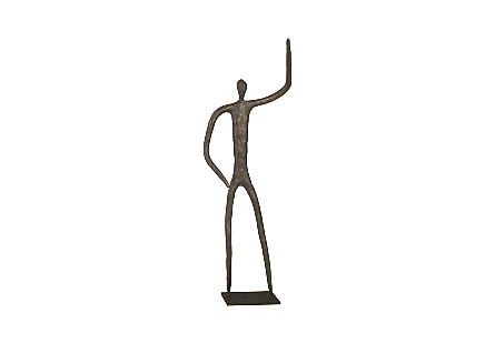 front view of the Phillips Collection Waving Figure Sculpture a decorative accessory with a whimsical figure in a bronze finish
