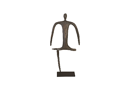 Abstract Figure on Metal Base Bronze Finish, Leg Folded