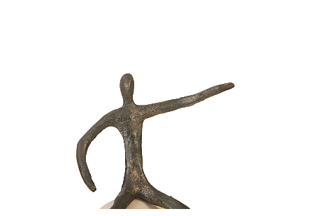 Abstract Figure on Bleached Wood Base Bronze Finish, Extended Straight Arm