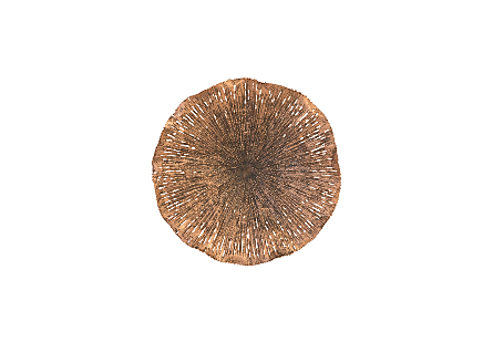 front view of the Lotus Medium Copper Wall Art by Phillips Collection a metal sculpture in mix of copper and black finishes shaped like lotus leaves