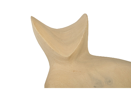 Sitting Cat Sculpture Chamcha Wood, Bleached Finish