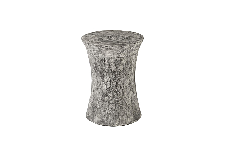 Drum Stool Mango Wood, Grey Stone