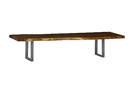 Chamcha Wood Dining Table Natural , Brushed Stainless Steel Legs