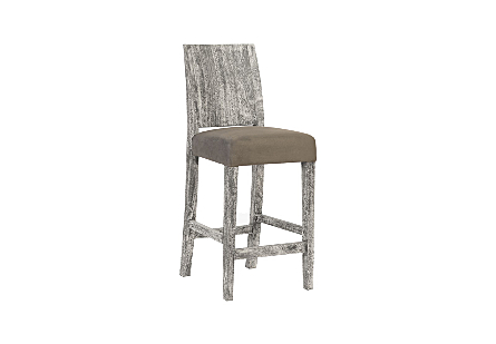 angled view of the Ophelia Gray Counter Stool by Phillips Collection with a textural woodgrain back of reclaimed chamcha wood and  an upholstered seat