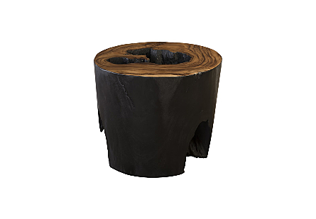 Chamcha Wood Side Table Burnt Edge