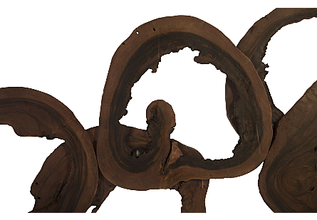 Olympic Rings Wall Art Chamcha Wood, Perfect Brown