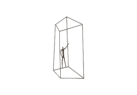 front view of the Phillips Collection Perspective Rear Waving Wall Art a wall sculpture with a thin figure in a telescoping asymmetrical wire cage