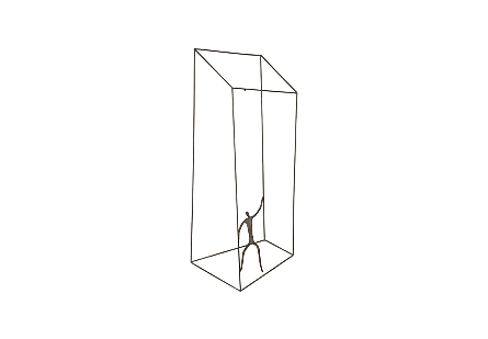 angled view of the Phillips Collection Perspective Front Waving Wall Art a wall sculpture with a thin figure in a telescoping asymmetrical wire cage