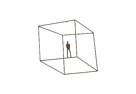 front view of the Phillips Collection Perspective Standing Wall Art a wall sculpture with a thin figure in a telescoping asymmetrical wire cage