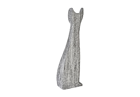 Cat Sculpture Grey Stone, LG