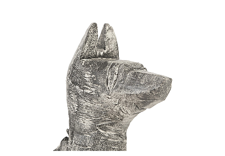 Seated Dog Sculpture Chamcha Wood, Grey Stone