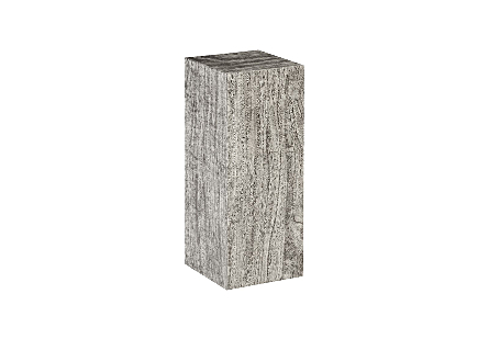angled view of the Phillips Collection Origins Medium Gray Pedestal a contemporary art pedestal made of reclaimed chamcha wood