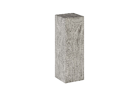 angled view of the Phillips Collection Origins Large Gray Pedestal a contemporary art pedestal made of reclaimed chamcha wood