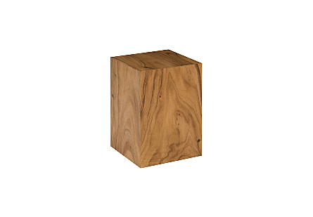 angled view of the Phillips Collection Origins Small Natural Pedestal a contemporary art pedestal made of reclaimed chamcha wood