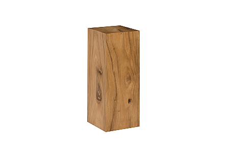 angled view of the Phillips Collection Origins Medium Natural Pedestal a contemporary art pedestal made of reclaimed chamcha wood