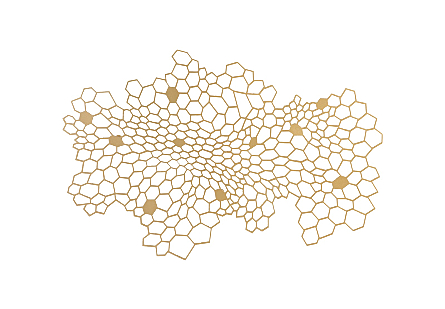 front view of the Honeycomb Medium Wall Art by Phillips Collection gold wall art laser cut from metal to look like a hive finished in a metallic hue