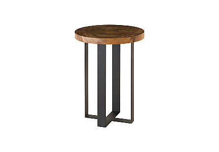 Chuleta Bar Table on Black Metal Base Chamcha Wood, Natural