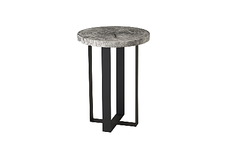 Chuleta Bar Table on Black Metal Base Chamcha Wood, Gray Stone