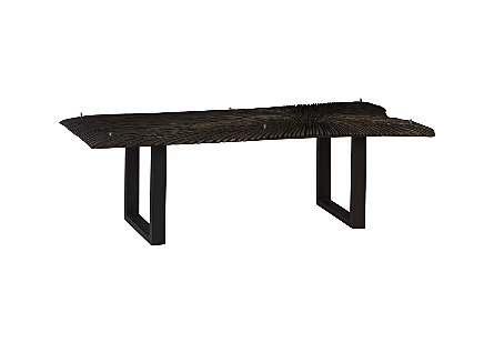 Chainsaw Dining Table with Glass Chamcha Wood, Burnt Black, Black Iron U Legs