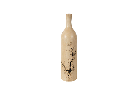 front view of the Phillips Collection Lightning Tapered Bottle a decorative vessel made of wood with a sizzling fractal pattern