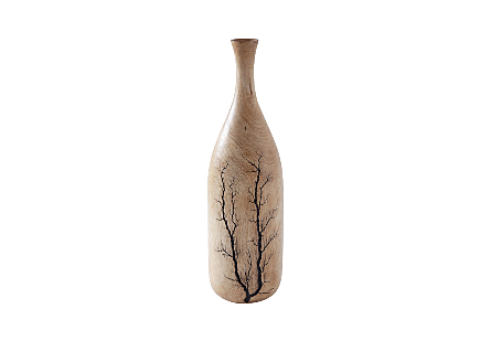 front view of the Phillips Collection Lightning Rounded Bottle a decorative vessel made of wood with a sizzling fractal pattern