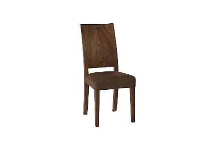 angled view of the Phillips Collection Origins Brown Dining Chair a contemporary dining chair made of reclaimed chamcha wood