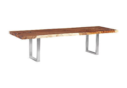 Chamcha Wood Dining Table, Natural Stainless Steel Legs
