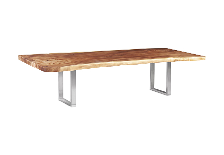 Chamcha Wood Dining Table, Natural Brushed Stainless Steel Legs