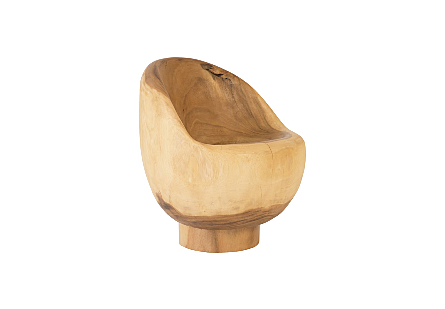 Ball Chair Small, Chamcha Wood, Natural, Solid Base