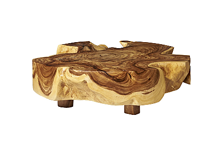 Chamcha Wood Thick Coffee Table Round