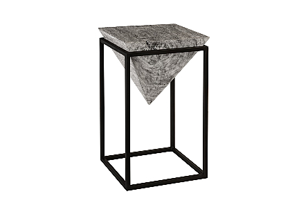 Inverted Pyramid Side Table Grey Stone, Wood/Metal, Black, LG