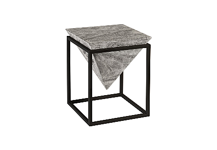 Inverted Pyramid Side Table Grey Stone, Wood/Metal, Black, SM