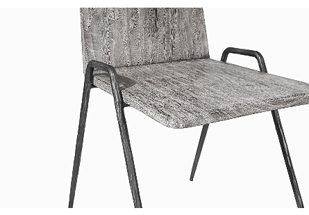 Forged Leg Dining Chair Chamcha Wood, Grey Stone Finish, Metal