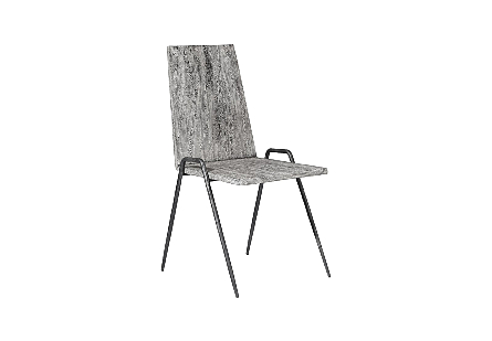 Forged Leg Dining Chair Chamcha Wood, Gray Stone Finish, Metal