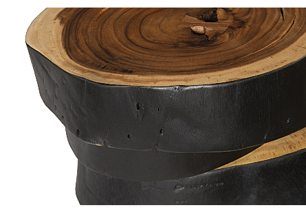 Stacked Slices Coffee Table Chamcha Wood, Burnt Edge