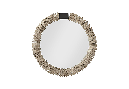 front view of the Phillips Collection Medium Stacked-Ring Wood Mirror a decorative mirror with circlets of chamcha wood slid onto the frame