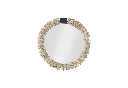 front view of the Phillips Collection Small Stacked-Ring Wood Mirror a decorative mirror with circlets of chamcha wood slid onto the frame