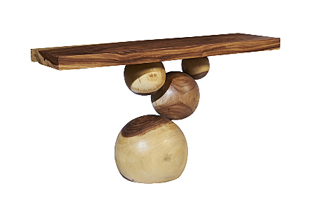 Chamcha Wood Stacked Marbles Console