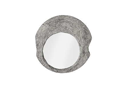 Wood Wall Mirror Gray Stone, Round