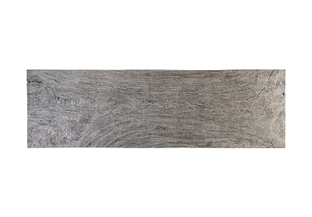 Origins Dining Table Live Edge, Gray Stone, Brushed Stainless Steel Legs