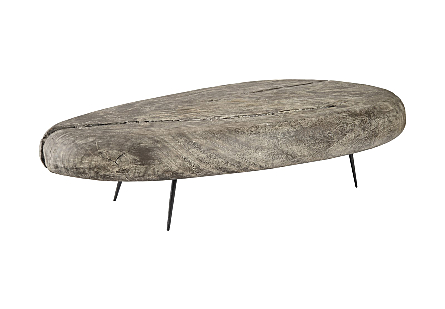 Skipping Stone Coffee Table With Forged Legs, LG