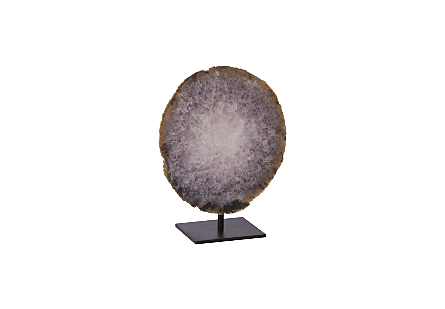 Agate Slice Sculpture on Stand White