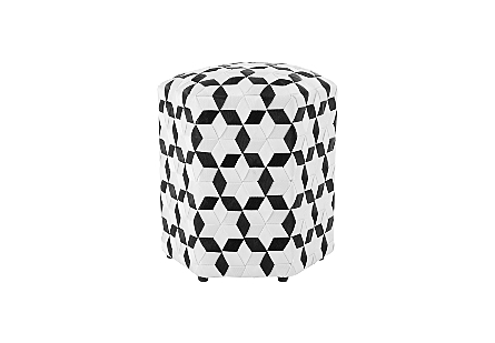 Seat Belt Poof Ottoman Black/White