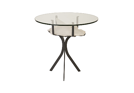 White Quartz Crystal Side Table