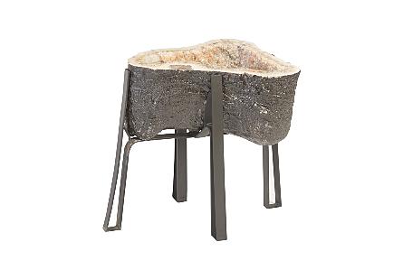 Amethyst Side Table Metal Base