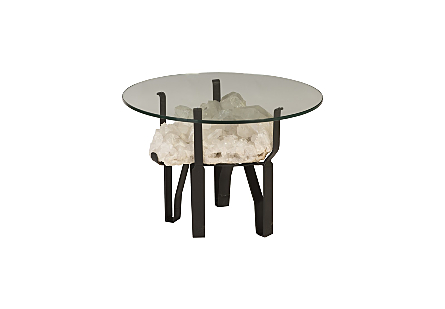 "White Quartz Crystal Coffee Table Base w/ 24"" Glass"